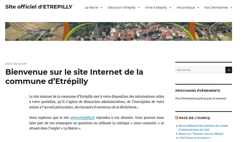 Site web de la commune d'ETREPILLY en Seine et Marne.